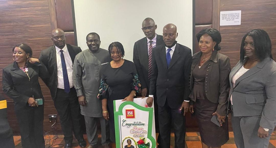 Dg Lacon (Aliyu B. Abubakar) with Few Lacon Staff Felicitating with Grace E. Nsot on Her Retirement