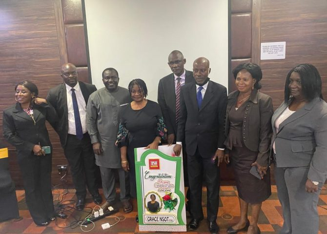 Dg Lacon (Aliyu B. Abubakar) with Few Lacon Staff Felicitating with Grace E. Nsot on Her Retirement